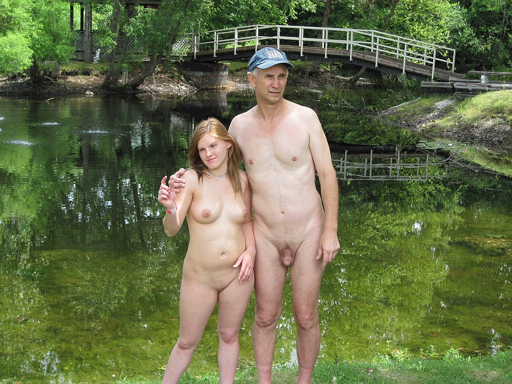 Nudist beach father and daughter