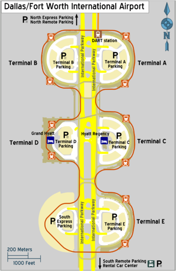 Dallas Airport Map Terminal D Dallas Fort Worth International Airport – Travel guide at Wikivoyage