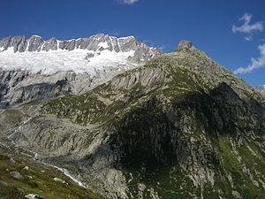 Dammastock - The Dammastock from the Göscheneralp valley, with the Dammastock Hut visible