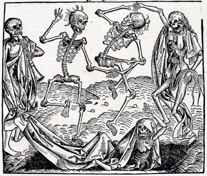 Skeleton (undead) - Animated skeletons in The Dance of Death (1493), a woodcut by Michael Wolgemut, from the Liber chronicarum by Hartmann Schedel.