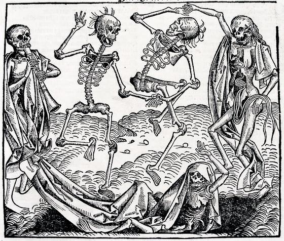 ミヒャエル・ヴォルゲムート(ドイツ語版)『死の舞踏』1493年、版画  「生」に対して圧倒的勝利をかちとった「死」が踊っているすがた — 14世紀の「黒死病」の流行は全ヨーロッパに死の恐怖を引き起こした。
