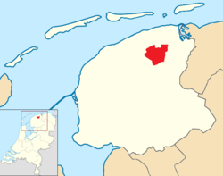 Position of Dantumadiel in a map of Friesland