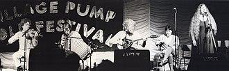 De Dannan - De Dannan, featuring two of their noted female singers at the 1985 Trowbridge Folk Festival. L-R: Frankie Gavin; Martin O'Connor; Alec Finn; Mary Black and Dolores Keane.