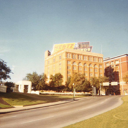 Dealey Plaza and Texas School Book Depository in 1969, looking much as they did in November 1963. - Assassination of John F. Kennedy