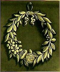 Decoratiestuk met lauwerkrans met bloemen
