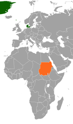 Map indicating locations of Denmark and Sudan