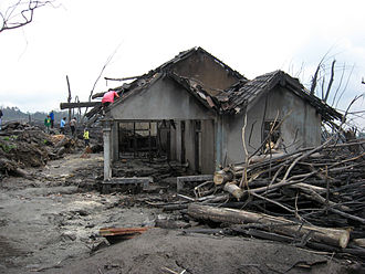 Mount Merapi - Destroyed house in Cangkringan Village after the eruptions