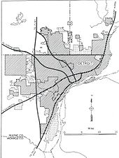 Detroit inset from the General Location of National System of Interstate Highways Including All Additional Routes at Urban Areas Designated in September 1955 (Yellow Book)