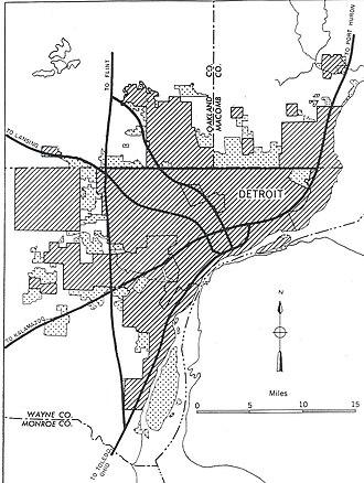Interstate 275 (Michigan) - Image: Detroit, Michigan 1955 Yellow Book