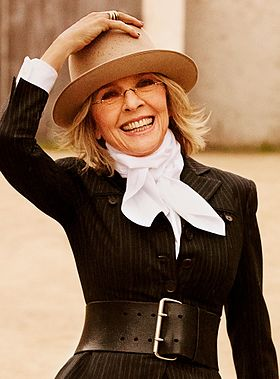 Diane Keaton won twice for her roles in Annie Hall (1977) and Something's Gotta Give (2003) Diane Keaton 2012-1 (cropped).jpg