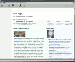 Dillo 3.0 displaying the English Wikipedia