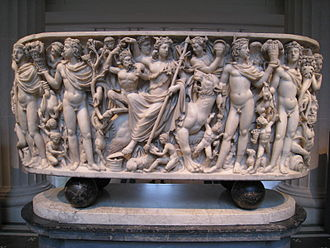 Dionysus - Marble sarcophagus with the Triumph of Dionysos and the Seasons. Roman ca. AD 260–270