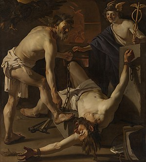 Utrecht Caravaggism - Prometheus Being Chained by Vulcan by Dirck van Baburen (1623) Oil on canvas, 202 x 184 cm. Rijksmuseum, Amsterdam