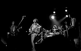 The original Dire Straits line-up in Hamburg, Germany (1978) L to R: Illsley, Mark Knopfler, Withers, David Knopfler.