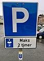 Disc parking sign in Leirvik, Norway 2018-03-08 IMG 6016.jpg