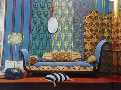 Display of early art deco furnishings by the atelier français at the 1913 salon dautomne from art et décoration magazine 1914