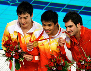 He Chong - He at the 2008 Olympics with Qin Kai and Alexandre Despatie