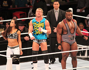 AJ Lee - AJ with Dolph Ziggler (center) and Big E Langston (right) in 2013