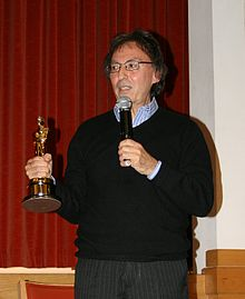 Don Black shows his Oscar for Born Free at Nightingale House in February 2010