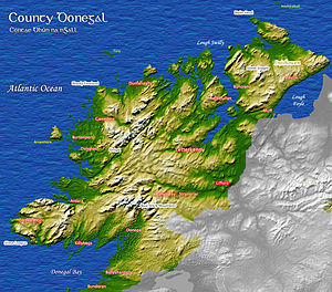 Donegal fiddle tradition - Map showing the geography and some of the different regions of Donegal.