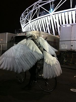 Suttirat Anne Larlarb - A 'dove bike', designed by Larlarb, at the 2012 Summer Olympics opening ceremony