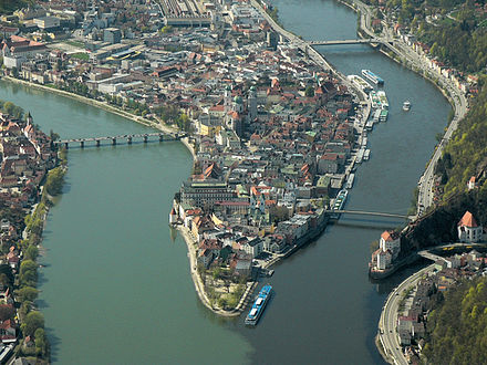 Confluence of (from left to right) Inn, Danube, and Ilz in Passau Dreiflusseeck-Passau-Aerial (P1140080E).jpg