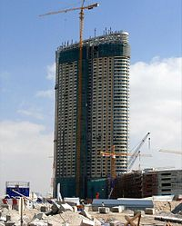 Dubai Mall Hotel Under Construction on 25 January 2008.jpg