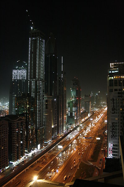 File:Dubai Sheikh Zayed Road Night.jpg