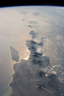 East Indonesia Islands From Iss Six Active Volcanoes Are Visible  In East Java And Rinjani In Lombok