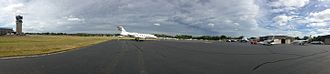 Tweed New Haven Airport - View of East Ramp during visit of Boeing 737-700 Business Jet.