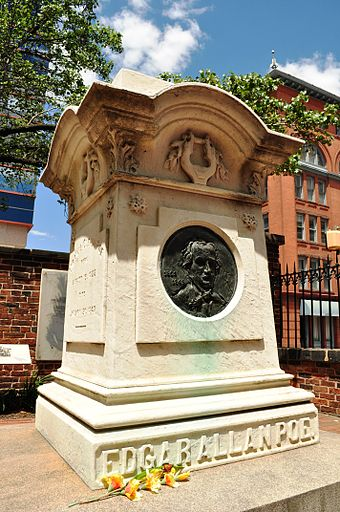 Edgar Allan Poe is buried at Westminster Hall in Baltimore, Maryland (Lat: 39.29027; Long: -76.62333). The circumstances and cause of his death remain uncertain. EdgarAllanPoeGrave.jpg