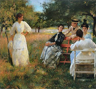 Edmund C. Tarbell - In the Orchard, 1891; Souther siblings, Mrs. Tarbell at far right