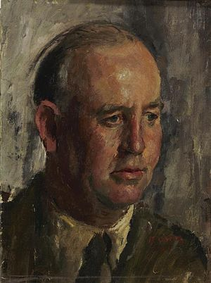 Edward Ardizzone - Ardizzone in uniform by Henry Carr, (1944) (Art.IWM ART LD 4056)