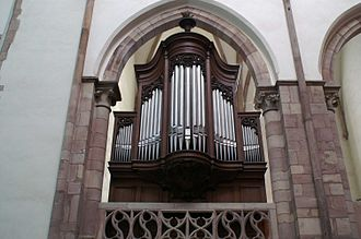 The Choir Organ at St Thomas' Church, Strasbourg, designed in 1905 on principles defined by Schweitzer Eglise St Thomas - Orgue de Choeur.JPG
