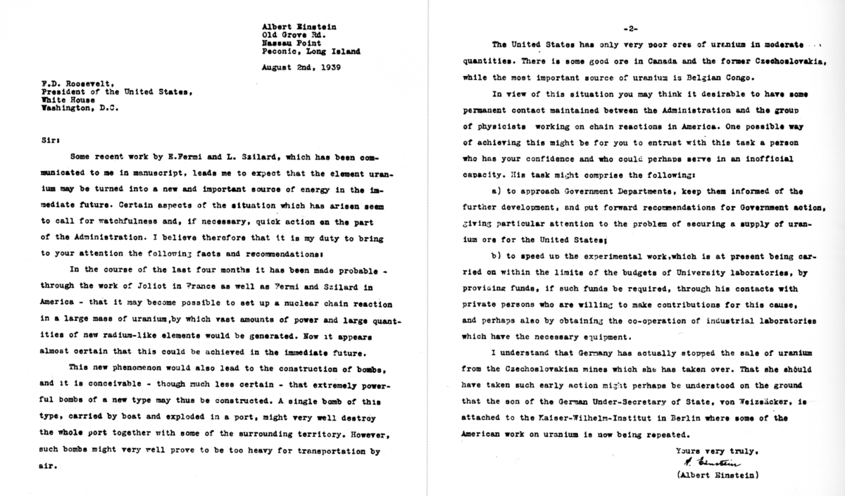 Letter to U.S. President Franklin D. Roosevelt by Albert Einstein