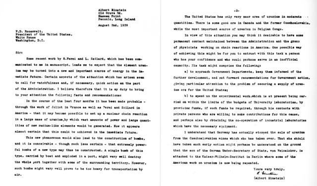 Письмо Рузвельту