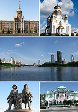 Views of Yekaterinburg, Top left:Yekaterinburg Administration hall, Top right:Church on Blood in Honour of all Saint Resplendent in the Russian land, Center:Iset River and Visotsky business area, Bottom left:A monument of Tatischev and de Gennin, Bottom right:Sevastyanov's House
