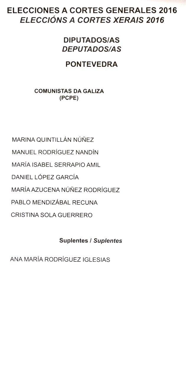 Eleccións a Cortes Xerais 2016. Deputados. Pontevedra. Comunistas da Galiza PCPE
