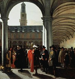 Courtyard of the Amsterdam Stock Exchange by Emanuel de Witte, 1653. The Amsterdam Stock Exchange was the first stock exchange to introduce continuous trade in the early 17th century. Emanuel de Witte - De binnenplaats van de beurs te Amsterdam.jpg