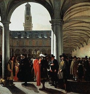 Tableaux de peintres hollandais 300px-Emanuel_de_Witte_-_De_binnenplaats_van_de_beurs_te_Amsterdam