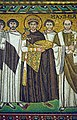 Emperor Justinian and his retinue. Detail of the mosaic in the Basilica of San Vitale. Ravena, Italy.jpg