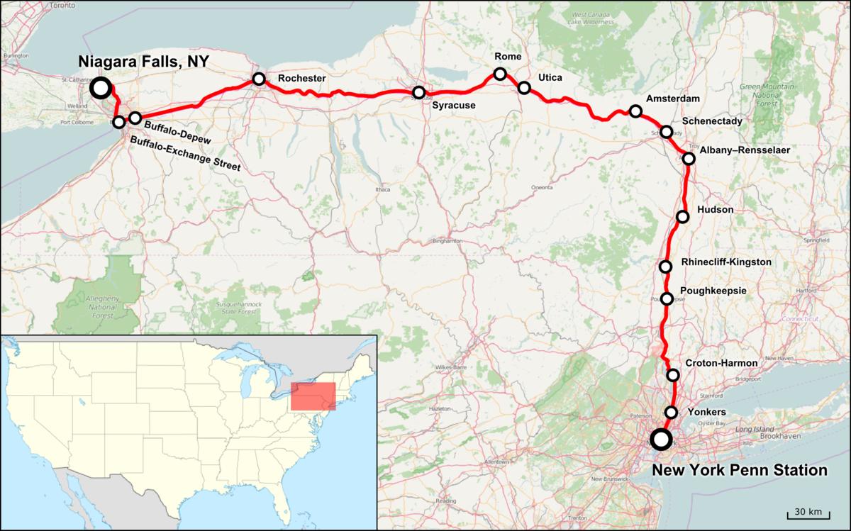 Empire Service Train Wikipedia - Us map of amtrak routes