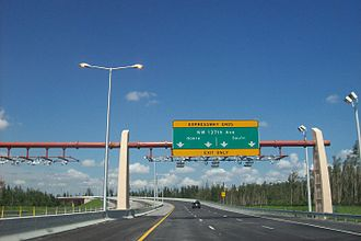 Florida State Road 836 - Signage denoting the current western terminus of the Dolphin Expressway, right above an all electronic toll gantry