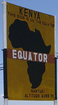 In tourist areas, the equator is often marked on the sides of roads