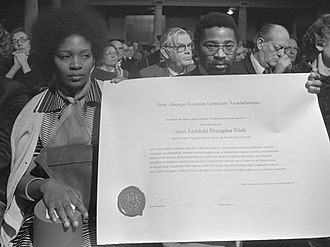 Govan Mbeki - Honorary doctorate, Amsterdam 1978