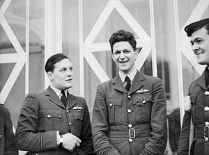 James Brindley Nicolson - Flt.-Lt. Nicolson (centre) while recuperating from wounds after his VC action, November 1940
