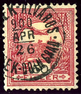Osijek - Hungarian stamp of 1900 cancelled Lower town in both languages