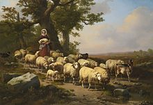 A Shepherdess With Her Flock By Verboeckhoven The Shepherd
