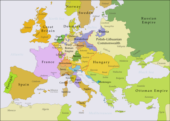 Europe in the years after the Treaty of Aix-la-Chapelle in 1748 Europe 1748-1766 en.png