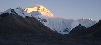 North Face (Everest) - Everest's north face, lit up by the setting sun